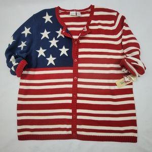 NWT Cherokee Woman American flag cardigan